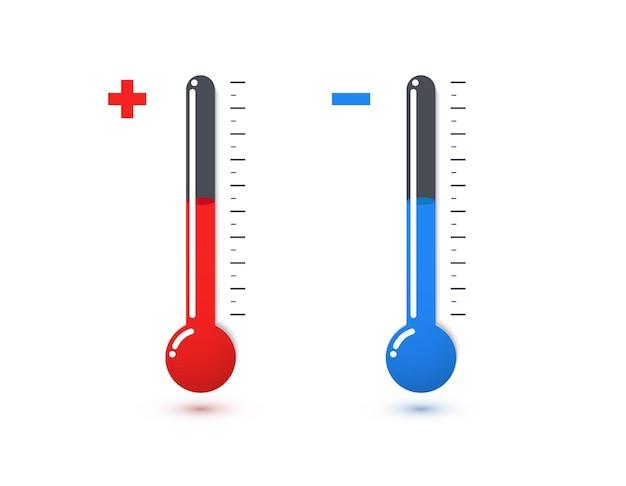 赤と青の水銀温度計。高温および低温センサー。