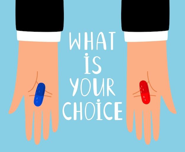 빨간색과 파란색 알약 선택. 빨간색과 파란색 알약 약물 또는 비타민 캡슐, 정제 질문 은유, 벡터 일러스트와 함께 손