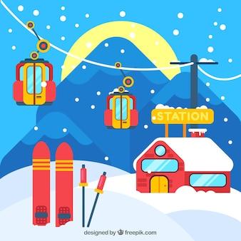赤と青のスキーリゾートのデザイン