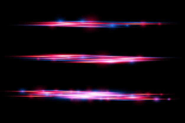 赤と青の特殊効果。レーザー光線、水平光線。