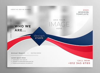 Red and blue wavy business brochure design template