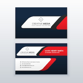 Red and dark blue business card template
