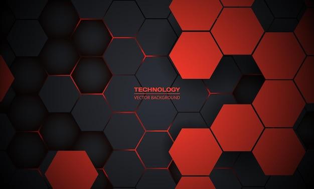 Красный и темно-серый гексагональный абстрактный фон технологии