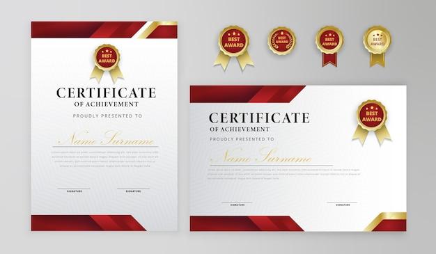 ビジネスと卒業証書のための赤と金の証明書のボーダーバッジテンプレート