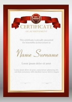 Шаблон оформления красно-золотого сертификата с наградой bage