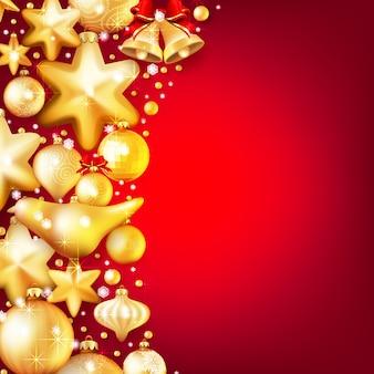 Красный и золотой новогодний фон.