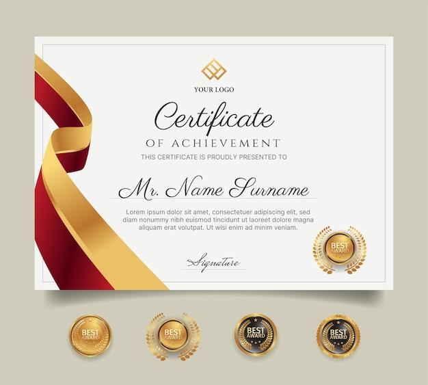Красно-золотой шаблон сертификата диплома с значками для награды