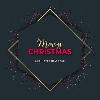 赤と金の幾何学的なクリスマスカード