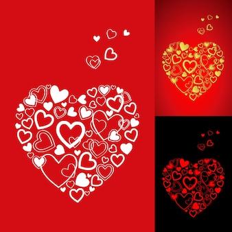 美しいハートの3色のオプションが付いた赤と金のバレンタインデーカード