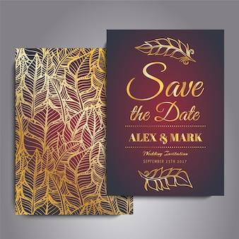 Красная и золотая свадебная открытка