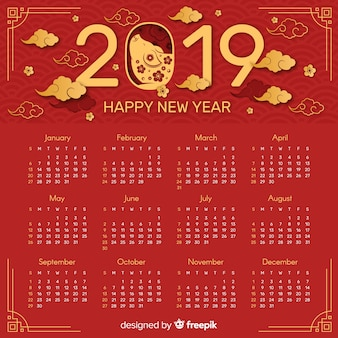 Red and golden chinese new year 2019 calendar