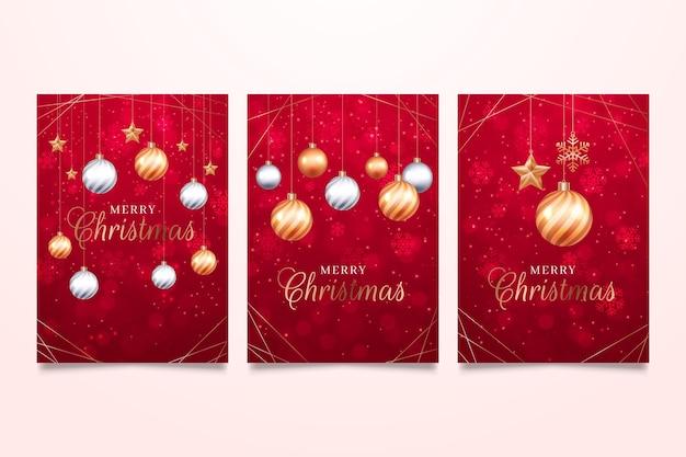 빨간색과 황금색 크리스마스 카드