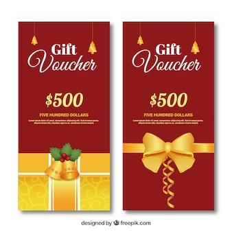 Красный и золотой подарок ваучер пакет