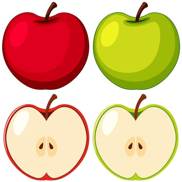 Красные и зеленые яблоки на белом фоне