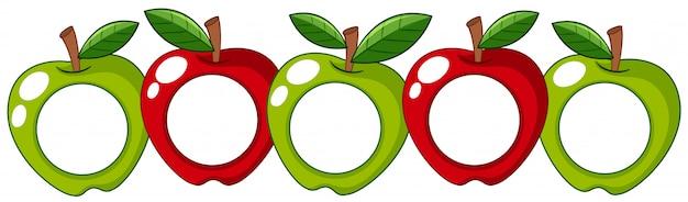 Красные и зеленые яблоки с белым значком на