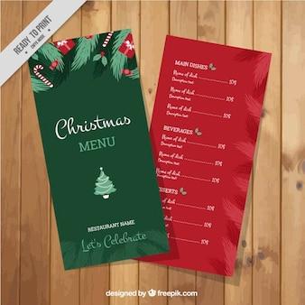 빨간색과 초록색 크리스마스 메뉴 템플릿