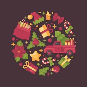 Композиция из красного и зеленого круга, выполненная из элементов рождество и новый год