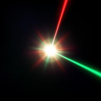 黒に分離された赤と緑のレーザービーム