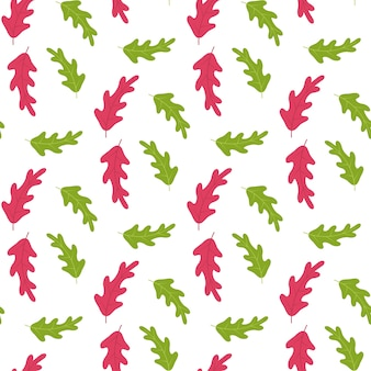 Красные и зеленые листья деревьев узор на белом