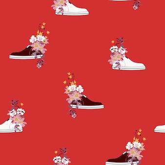 赤とオレンジの花のスニーカーのパターン