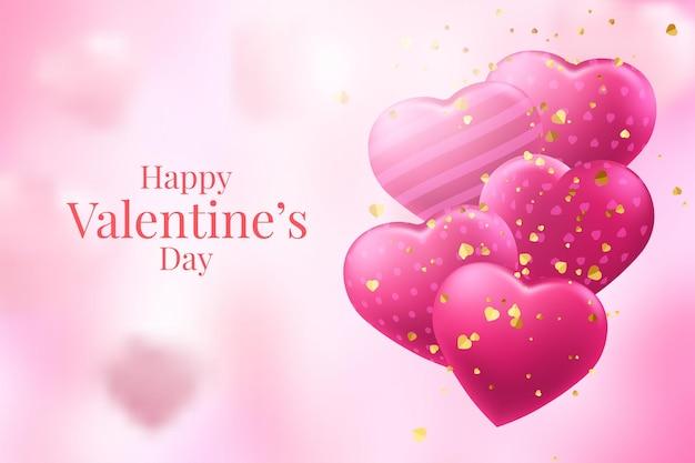 Красные и розовые сердечные шары на розовом фоне
