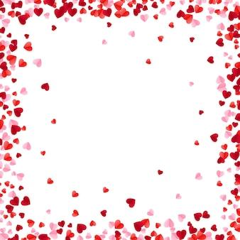 Красные и розовые бумажные сердца фон рамки