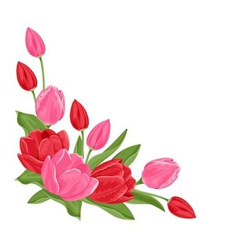 赤とピンクのチューリップの花束。