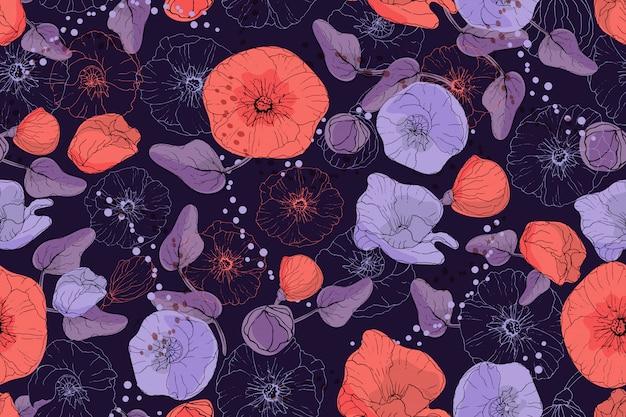 딥 퍼플 배경에 빨간색과 보라색 네온 아욱과 양귀비.