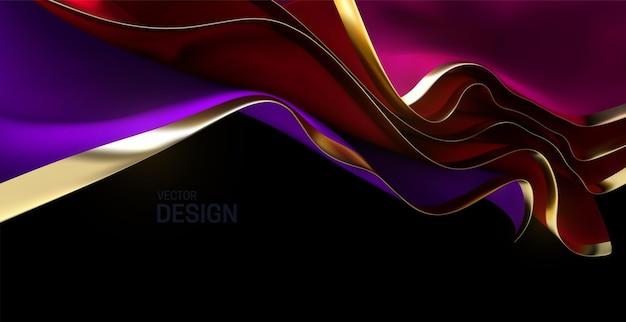 Красные и фиолетовые листы струящейся ткани с золотыми краями