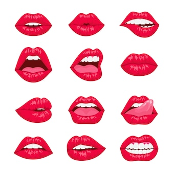 Красные и розовые поцелуи и улыбающиеся мультяшные губы декоративные иконки. сексуальная женщина губы с разными эмоциями.