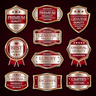 Красная и серебряная коллекция винтажных значков и этикеток