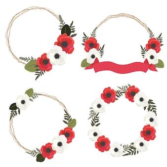 赤と白のアネモネまたはポピーの花の花輪フレームコレクションスタイルは、白い背景で隔離