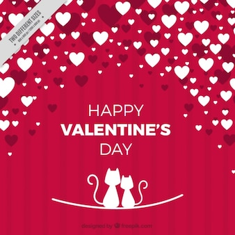 Red and white background with hearts and cats