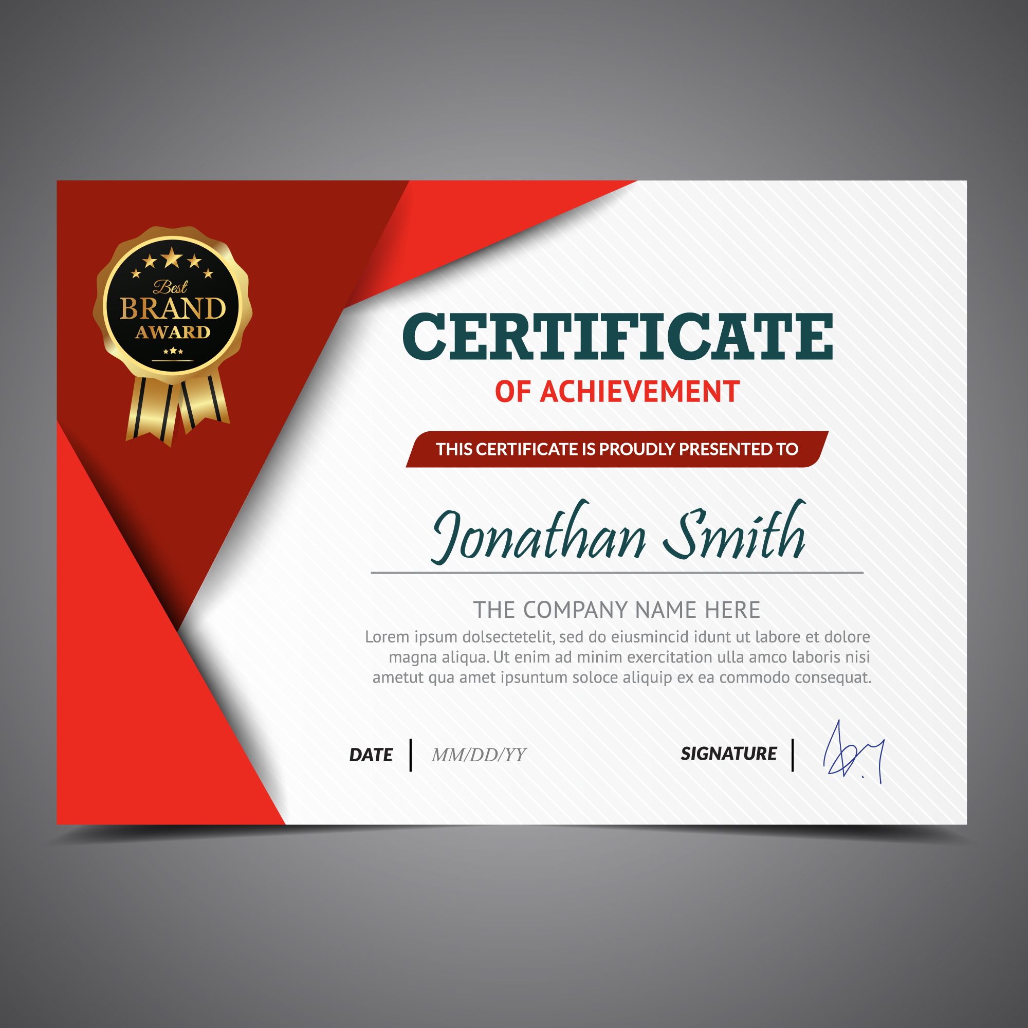 Red and white certificate template