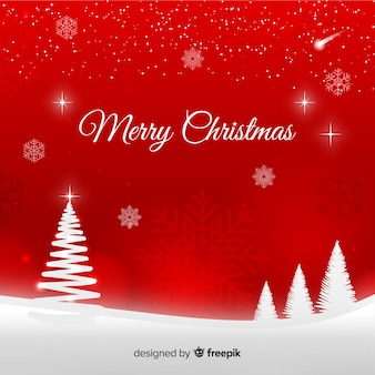 Red and white christmas background with snow