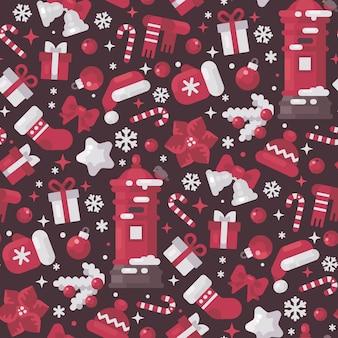 Красные и белые рождественские элементы бесшовные модели