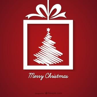 빨간색과 흰색 크리스마스 인사말 카드