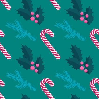 赤と白のクリスマスロリポップスティック、ホリー、松の木のシームレスなパターン、フラットスタイル。