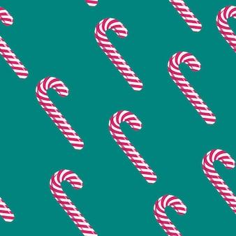 赤と白のクリスマスロリポップスティックシームレスパターン