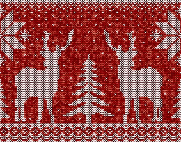 Красный и белый рождественский бесшовный фон фон с оленями, соснами и снежинками