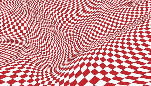 빨간색과 흰색 왜곡된 체크 무늬 배경