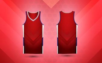 赤と白のレイアウトスポーツシャツのデザインテンプレート