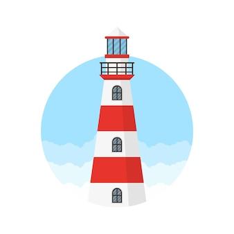 빨간색과 흰색 등대 로고 디자인 서식 파일
