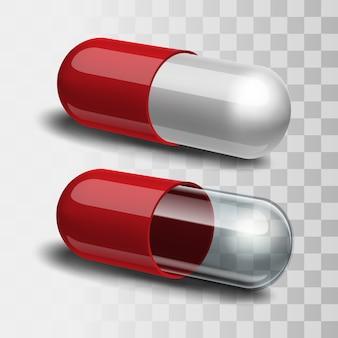 赤と白の錠剤と赤と透明の錠剤。図