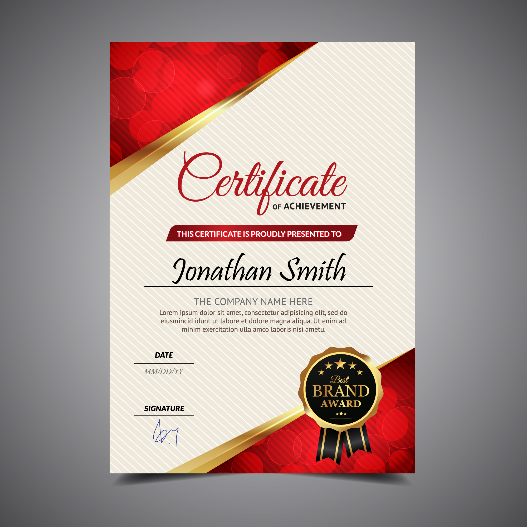 Red and white vertical certificate