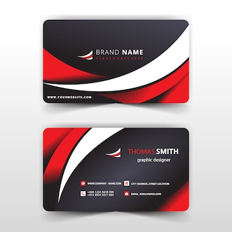 Red and white wavy business card