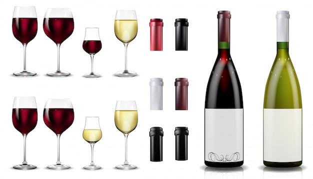 赤と白のワインのボトルとグラス。現実的なモックアップ