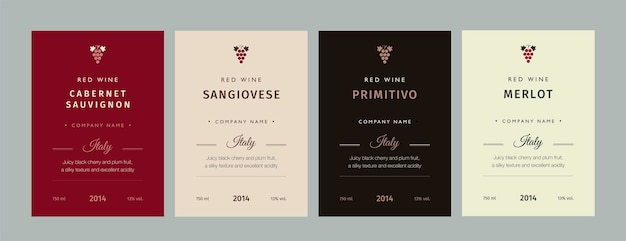 레드와 화이트 와인 레이블입니다. 특별 컬렉션 최고 품질의 포도 품종 및 프리미엄 와인 브랜드 이름 레이블.