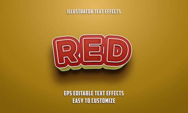 빨간색과 노란색 색상 편집 가능한 텍스트 효과 스타일
