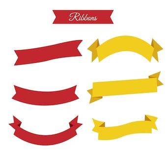Красные и желтые ленты, векторные иллюстрации
